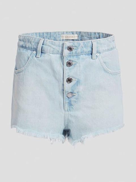 GUESS pantaloncino in jeans chiaro con bottoni da donna-4