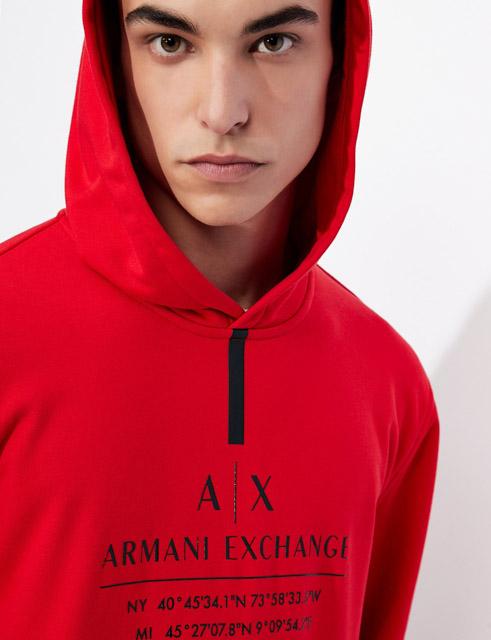 Felpa ARMANI EXCHANGE rossa da uomo -4