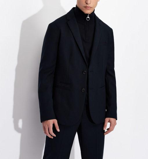 ARMANI EXCHANGE giacca blu da uomo con due bottoni-3