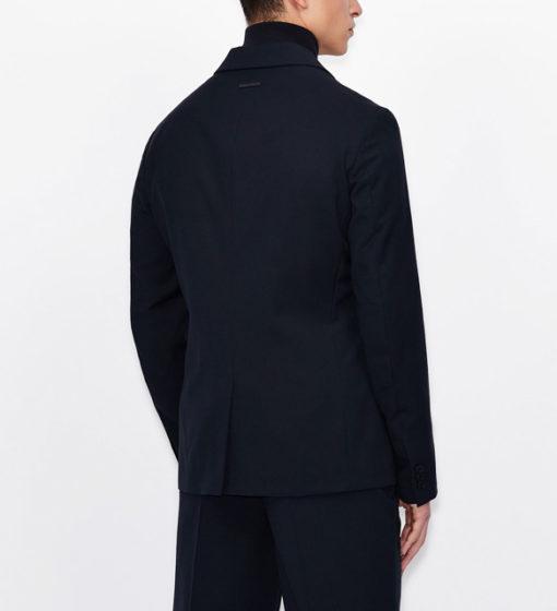 ARMANI EXCHANGE giacca blu da uomo con due bottoni-4