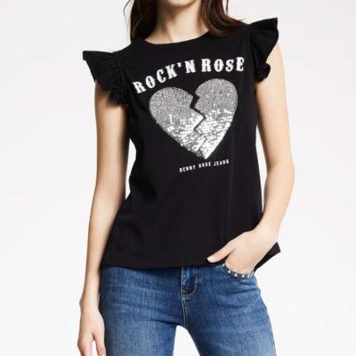 DENNY ROSE maglia senza maniche nera stampa cuore