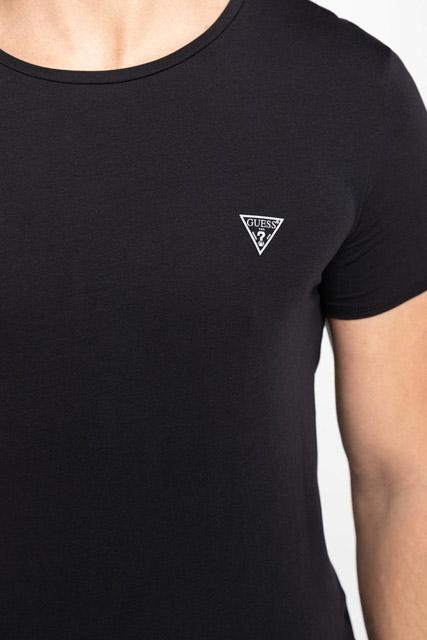 t-shirt GUESS uomo tinta unita girocollo con piccolo logo-4