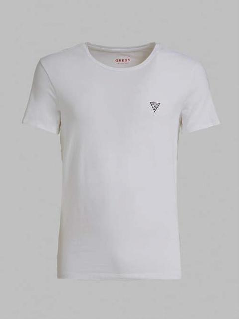t-shirt GUESS uomo tinta unita girocollo con piccolo logo-3
