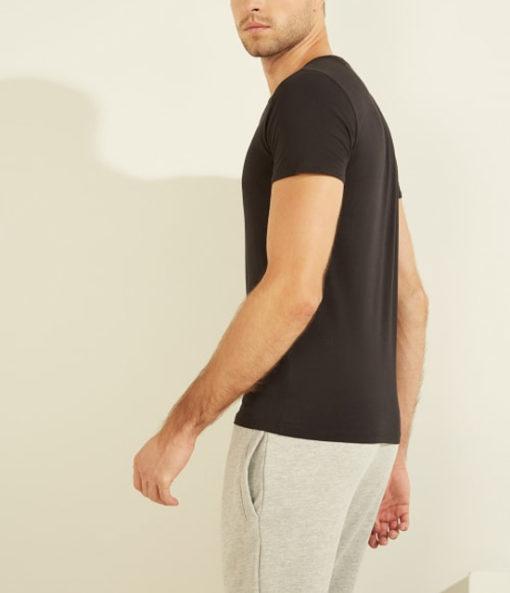t-shirt GUESS uomo tinta unita girocollo con piccolo logo-5
