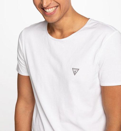 t-shirt GUESS uomo tinta unita girocollo con piccolo logo-1