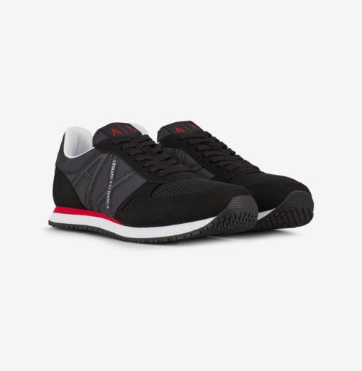 scarpa allacciata nera Armani Exchange uomo logo in tinta-3