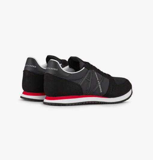scarpa allacciata nera Armani Exchange uomo logo in tinta-2