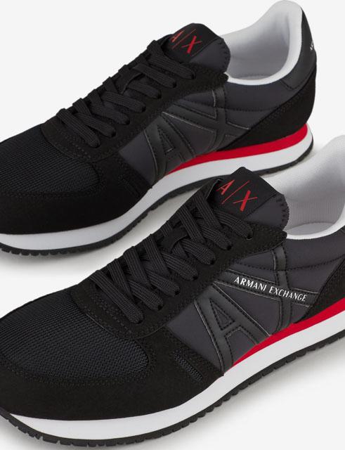 scarpa allacciata nera Armani Exchange uomo logo in tinta-1
