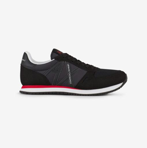 scarpa allacciata nera Armani Exchange uomo logo in tinta