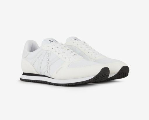 scarpa allacciata bianca Armani Exchange uomo logo in tinta-3