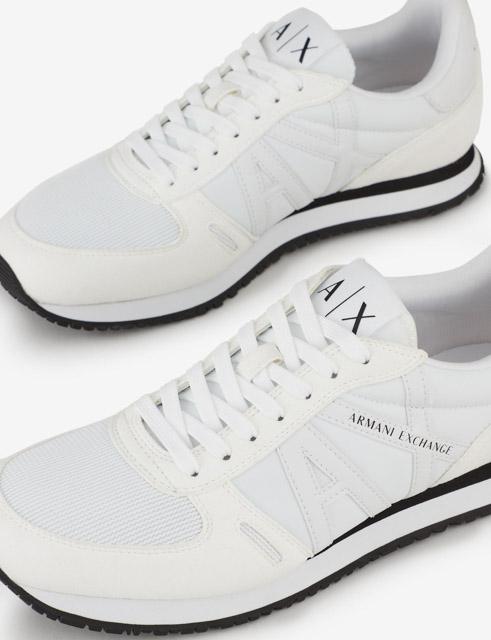 scarpa allacciata bianca Armani Exchange uomo logo in tinta-1