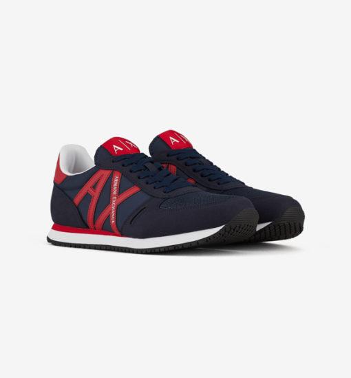 scarpa allacciata blu Armani Exchange uomo logo AX rosso
