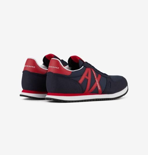 scarpa allacciata blu Armani Exchange uomo logo AX rosso-1