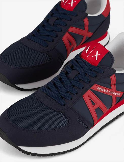 scarpa allacciata blu Armani Exchange uomo logo AX rosso-2