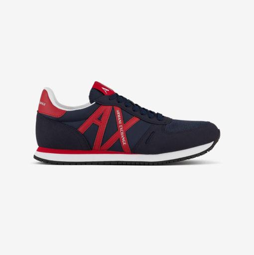 scarpa allacciata blu Armani Exchange uomo logo AX rosso-3
