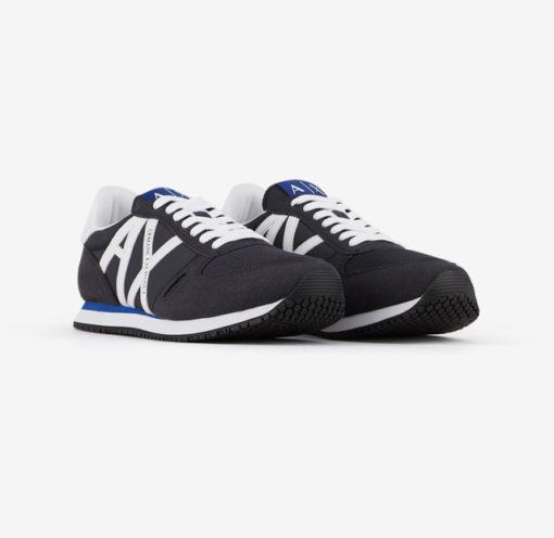 scarpa allacciata blu Armani Exchange uomo logo a contrasto-4