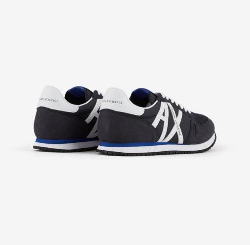 scarpa allacciata blu Armani Exchange uomo logo a contrasto-3