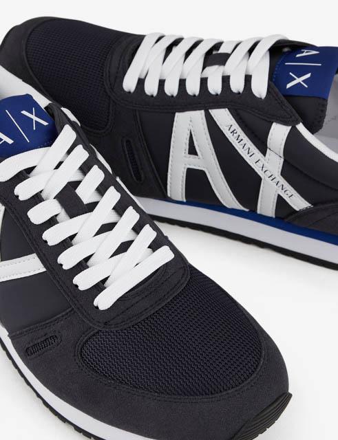 scarpa allacciata blu Armani Exchange uomo logo a contrasto-2