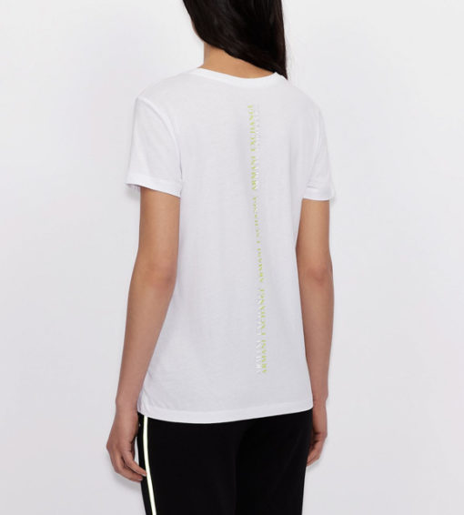 maglietta da donna ARMANI EXCHANGE con scritta lungo la schiena-8