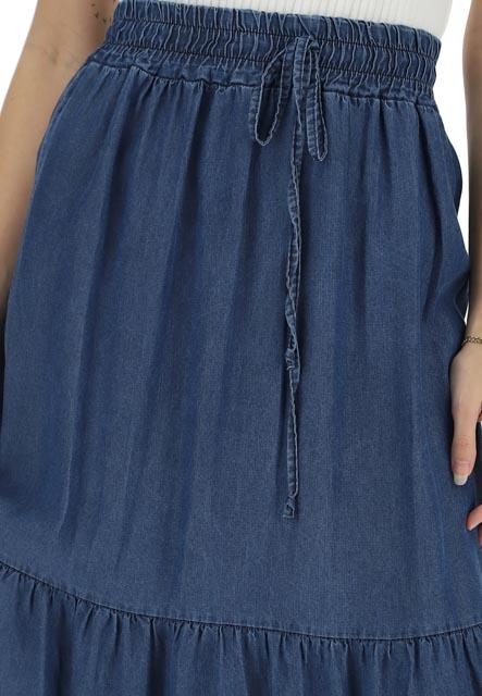 gonnellone con balze in jeans ARTIGLI donna-3