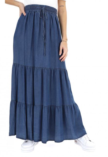 gonnellone con balze in jeans ARTIGLI donna-1