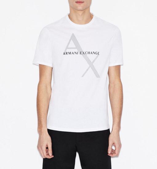 Maglietta girocollo Armani Exchange con stampa da uomo-1