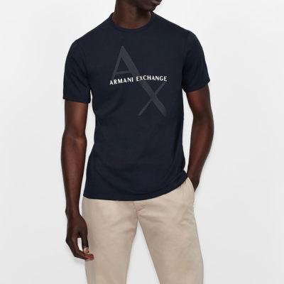 Maglietta girocollo Armani Exchange con stampa da uomo