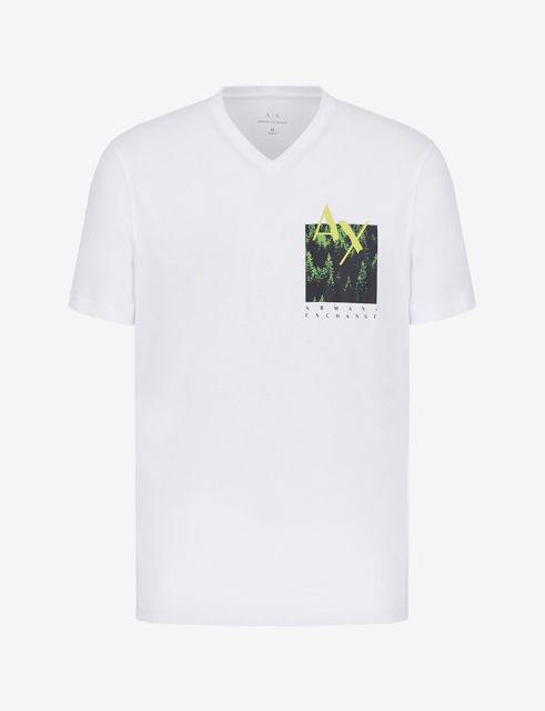 T-shirt bianca scollo a V Armani Exchange da uomo-3