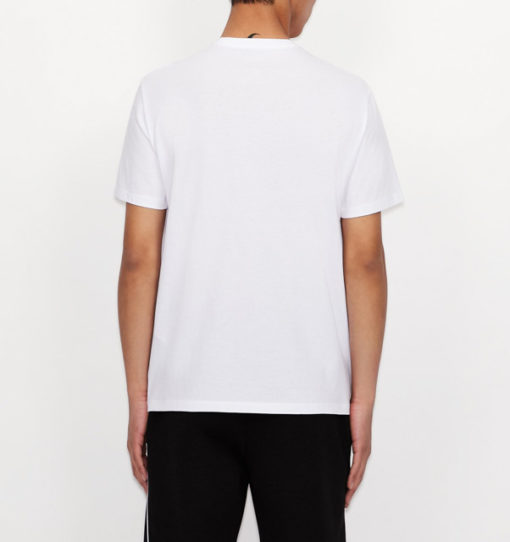 T-shirt bianca scollo a V Armani Exchange da uomo-4