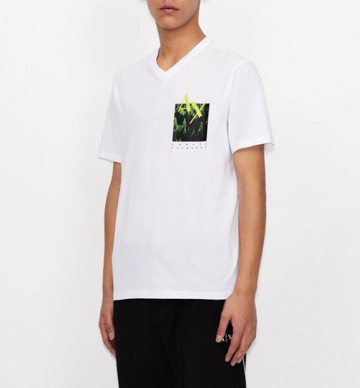 T-shirt bianca scollo a V Armani Exchange da uomo