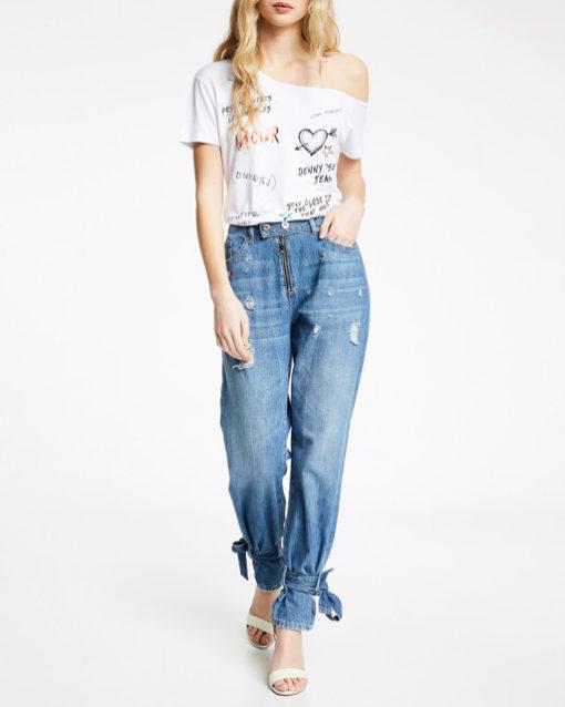 T-shirt DENNY ROSE con spalla scesa da donna-5
