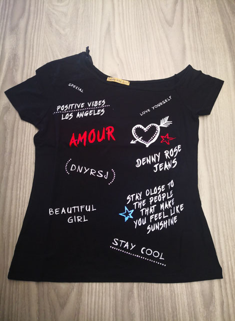 T-shirt DENNY ROSE con spalla scesa da donna-1