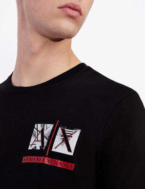 Armani Exchange maglietta uomo girocollo con piccola stampa-3