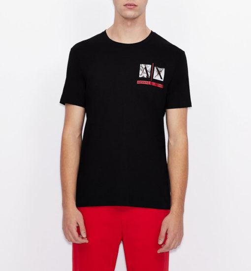 Armani Exchange maglietta uomo girocollo con piccola stampa-1