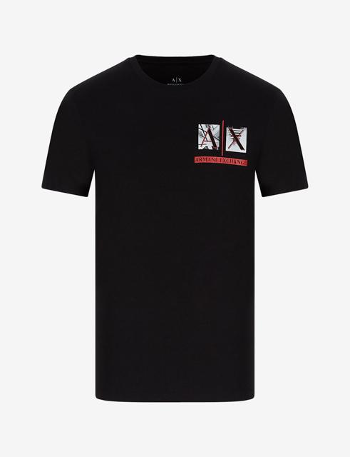 Armani Exchange maglietta uomo girocollo con piccola stampa-5