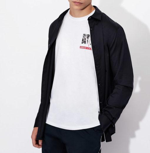 Armani Exchange maglietta uomo girocollo con piccola stampa-4