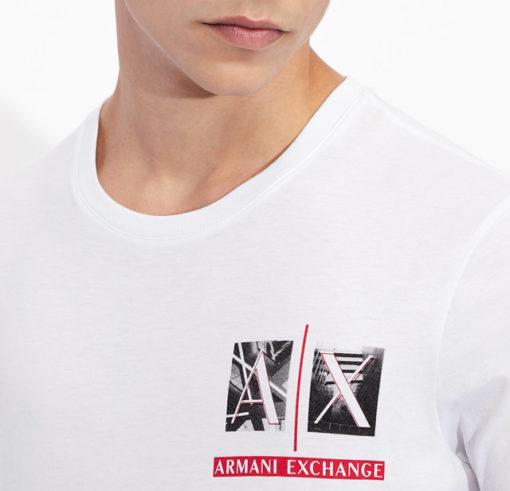 Armani Exchange maglietta uomo girocollo con piccola stampa-2