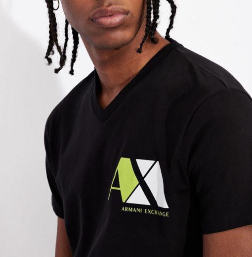 ARMANI EXCHANGE maglietta nera scollo V da uomo-1