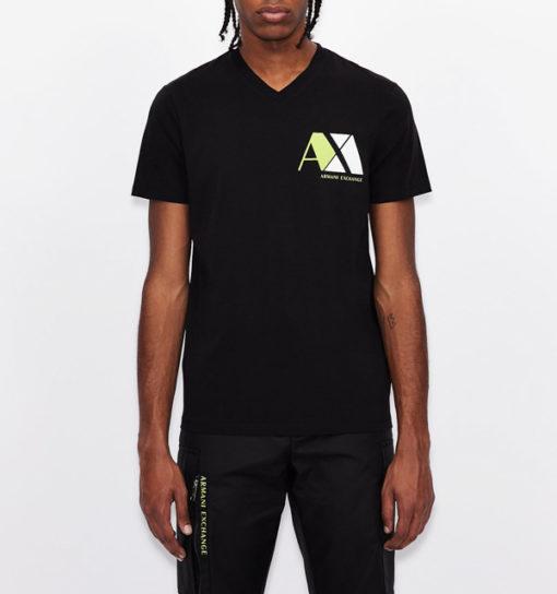 ARMANI EXCHANGE maglietta nera scollo V da uomo