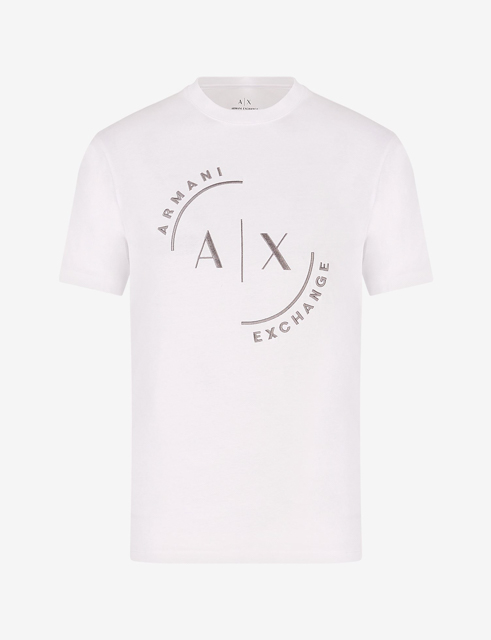 T-shirt con logo ARMANI EXCHANGE circolare ricamato -8