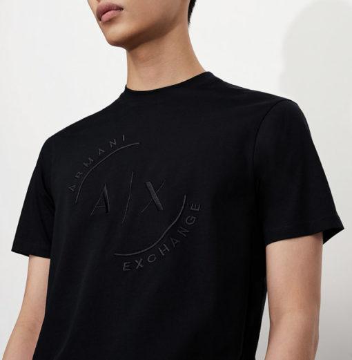 T-shirt con logo ARMANI EXCHANGE circolare ricamato -7