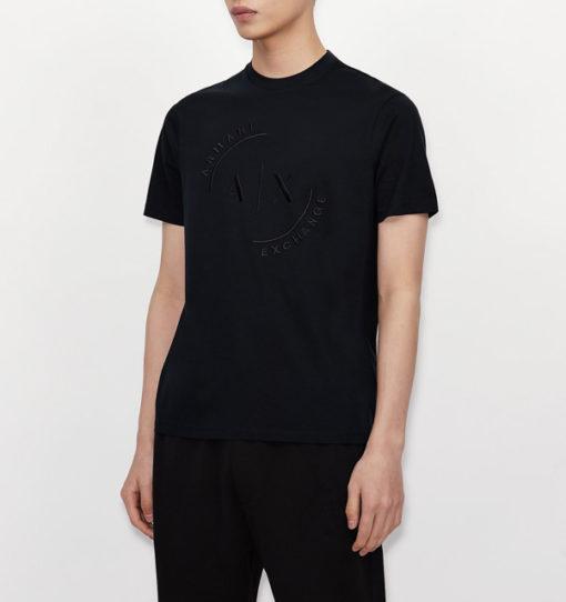 T-shirt con logo ARMANI EXCHANGE circolare ricamato -5