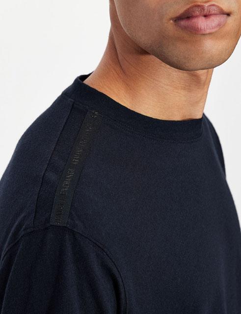 ARMANI EXCHANGE t-shirt misto lino blu da uomo-5