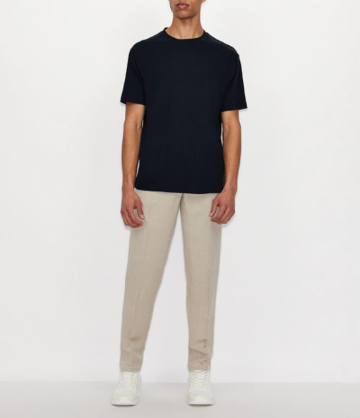 ARMANI EXCHANGE t-shirt misto lino blu da uomo-4