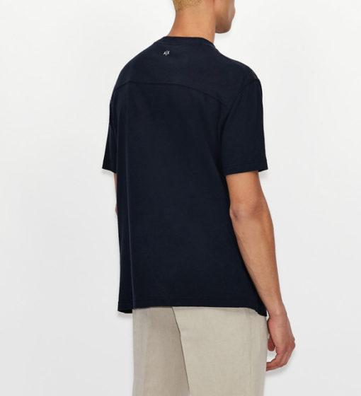 ARMANI EXCHANGE t-shirt misto lino blu da uomo-3