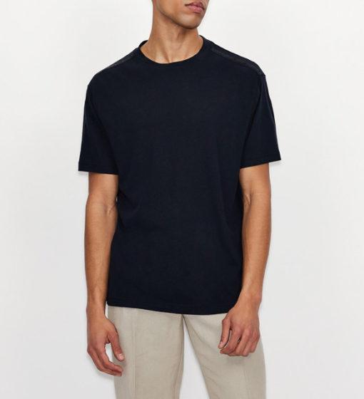 ARMANI EXCHANGE t-shirt misto lino blu da uomo-2