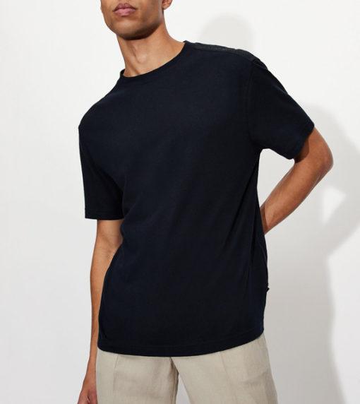ARMANI EXCHANGE t-shirt misto lino blu da uomo