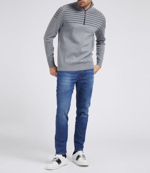 GUESS maglia uomo grigia con mezza zip-4