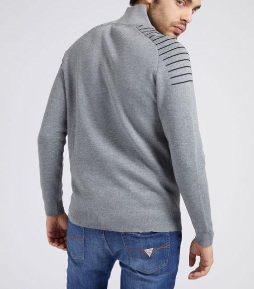 GUESS maglia uomo grigia con mezza zip-3