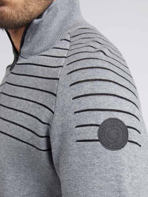 GUESS maglia uomo grigia con mezza zip-1